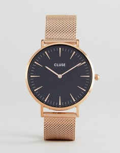 Часы с сетчатым ремешком (золотисто-розовый/черный) CLUSE CL18113 La Bohème - Золотой