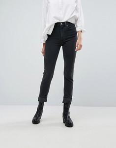 Джинсы с узкими штанинами и завышенной талией Weekday Way - Черный