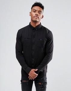Черная трикотажная рубашка с двумя карманами boohooMAN - Черный