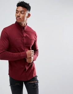 Бордовая трикотажная рубашка с двумя карманами boohooMAN - Красный