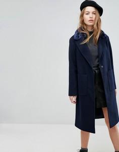 Пальто с меховым воротником New Look - Синий