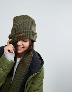 Зеленая шапка-бини в стиле милитари pc Monki - Зеленый