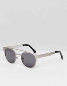 Круглые солнцезащитные очки с двойной планкой Komono Finley - Серебряный Monokel Eyewear