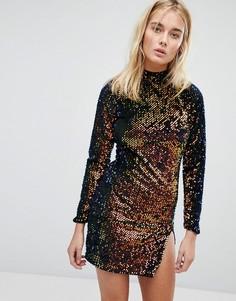 Облегающее платье с высоким воротником, открытой спиной и пайетками Motel - Мульти