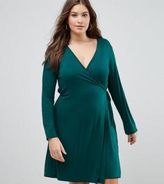 Трикотажное платье с запахом Boohoo Plus - Зеленый