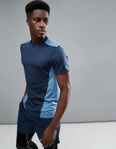 Темно-синяя футболка колор блок New Look SPORT - Темно-синий
