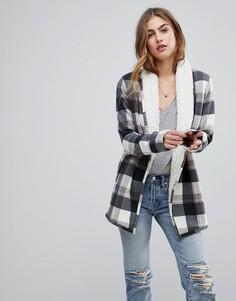 Пальто-кардиган с искусственным мехом Abercrombie & Fitch - Серый