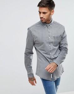 Обтягивающая джинсовая рубашка серого цвета River Island - Серый