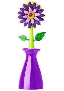 Щетка для мытья посуды на подставке FLOWER POWER* VIGAR