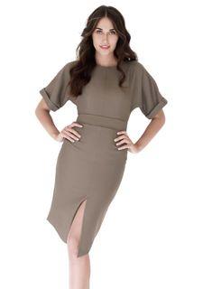 Платье с поясом, брошь ANASTASIA KOVALL
