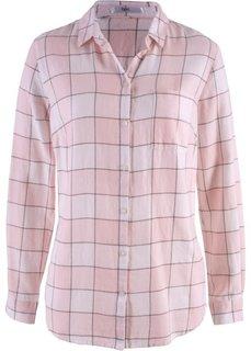 Фланелевая блузка (нежно-розовый в клетку) Bonprix