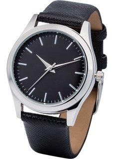 Часы с черным циферблатом (черный) Bonprix