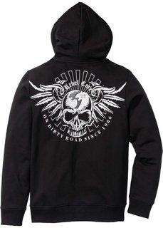 Трикотажная куртка Slim Fit с капюшоном (черный) Bonprix