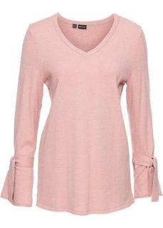 Вязаный пуловер с воланами на рукавах (винтажно-розовый) Bonprix