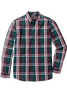 Рубашка Slim Fit с длинным рукавом (петролевый в клетку) Bonprix