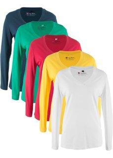 Футболка с длинными рукавами (5 штук в упаковке) (белый с принтом/желтый/темно-синий/красный/изумрудный) Bonprix