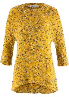 Вязаный пуловер дизайна Maite Kelly (шафранно-желтый меланж) Bonprix