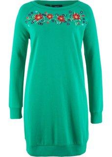 Трикотажное платье с вышивкой (нефритовый) Bonprix