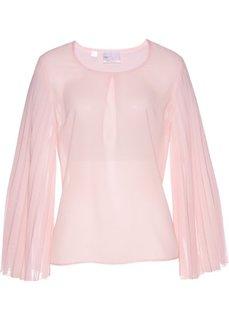 Блузка класса Премиум с плиссированными рукавами (нежно-розовый) Bonprix