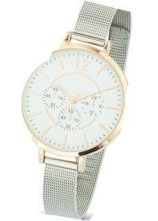 Часы с сетчатым браслетом (розово-золотистый/серебристый) Bonprix