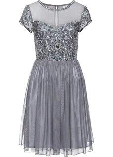 Платье с вышитыми аппликациями (серый) Bonprix