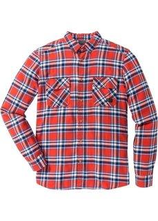 Фланелевая рубашка Slim Fit с длинным рукавом (темно-красный в клетку) Bonprix