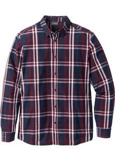Рубашка Slim Fit с длинным рукавом (темно-синий в клетку) Bonprix