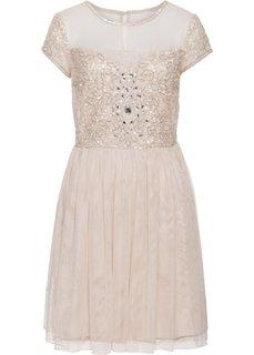Платье с вышитыми аппликациями (ярко-розовый) Bonprix