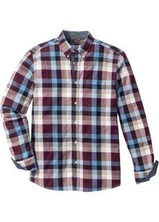 Клетчатая рубашка Regular Fit с длинным рукавом (бордовый/синий/кремовый в клетку) Bonprix