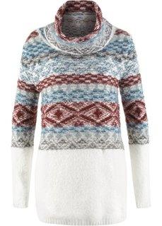 Удлиненный пуловер в стиле оверсайз с высоким воротом и длинным рукавом (цвет белой шерсти с узором) Bonprix