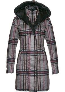 Стеганая куртка с капюшоном (антрацитовый меланж в клетку) Bonprix