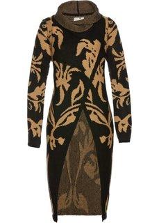 Вязаное пальто (черный/капучино) Bonprix