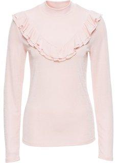Блестящая футболка с воланами (нежно-розовый) Bonprix