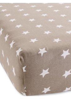 Эластичная простыня на резинке Звезды (серо-коричневый) Bonprix
