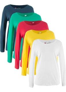 Удлиненная футболка с длинными рукавами (5 штук в упаковке) (красный/белый/желтый/темно-синий/изумрудный) Bonprix