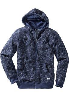 Меланжевая трикотажная куртка с капюшоном Regular Fit (темно-синий меланж) Bonprix