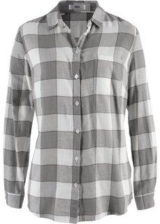 Фланелевая блузка (серый в клетку) Bonprix
