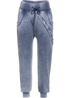 Трикотажные брюки с длинной линией пуговиц (индиго вареный) Bonprix