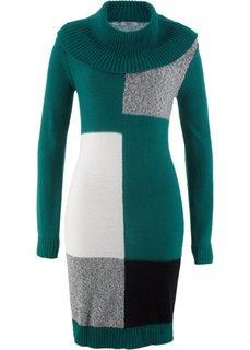 Вязаное платье с длинным рукавом (зеленый с узором) Bonprix