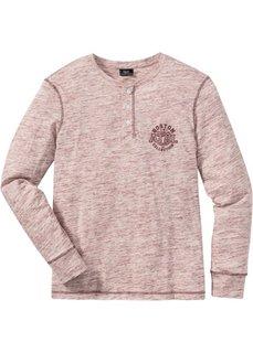 Меланжевая футболка Regular Fit с длинным рукавом (бордовый меланж) Bonprix