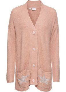 Вязаный кардиган (винтажно-розовый меланж) Bonprix