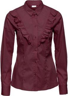 Блузка с воланом (кленово-красный) Bonprix