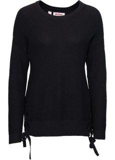 Пуловер со шнуровкой (черный) Bonprix