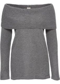 Пуловер с открытыми плечами (светло-серый меланж) Bonprix