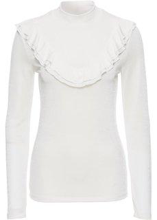 Блестящая футболка с воланами (кремовый) Bonprix