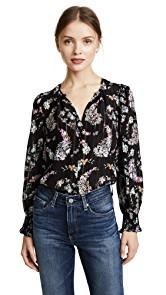 Rebecca Taylor Long Sleeve Jewel Paisley Top