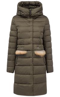 Утепленное пальто с мехом енота Acasta