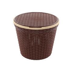 """Корзина для хранения круглая 15 л.33*33*27 см. с крышкой """"Ротанг"""", Violet, коричневый"""