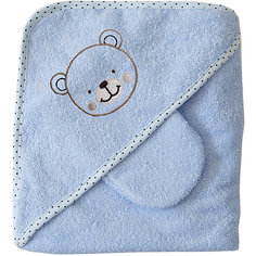 Махровое полотенце с уголком, 75х75см., Baby Nice, голубой