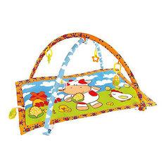 "Развивающий коврик ""Коровка Муу и кукурузка"" с 5-ю развивающими игрушками и пищалкой Жирафики"